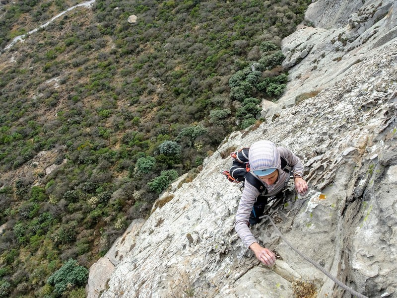 NB topping out the crux pitch 5 on incredible jugs