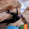 Working towards the crux - was a great, snowy New Year's Eve in JTree.