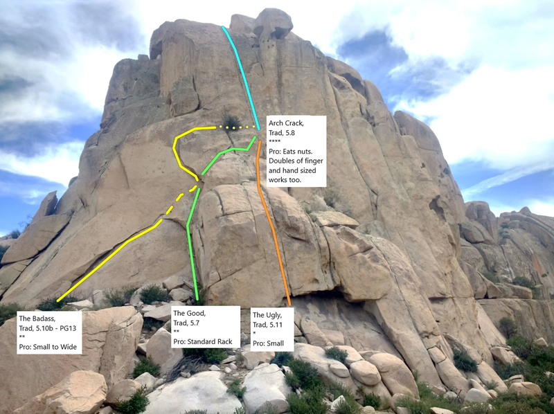 Arch Crack Buttress w/ route topo