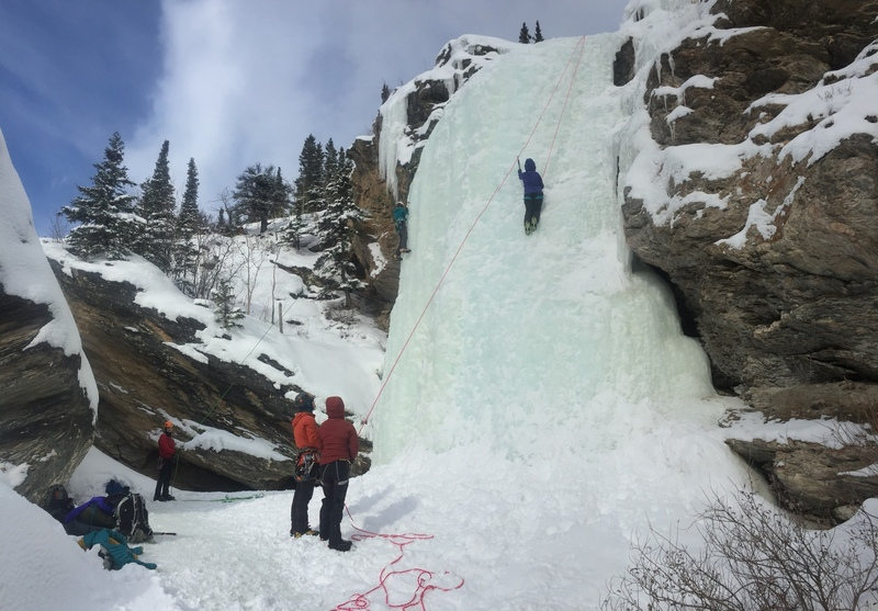 End of season climb (Easter Day) on upper falls with humans for scale. 2018.