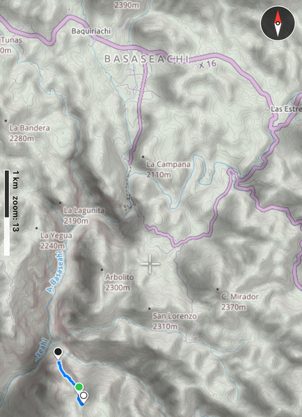 Approach track to the summit.  White dot: end of 4x4 road.  Black dot: summit of El Gigante