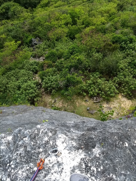 Looking down the cliff