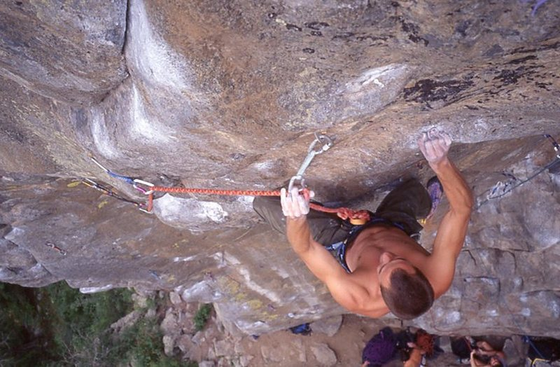 Chris Alber clipping the crux bolt, around 1996.