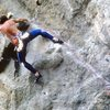 Mark Rolofson entering the crux on Flying Beast, in the late 1990s.<br> <br> Photo: Mark Rolofson collection.