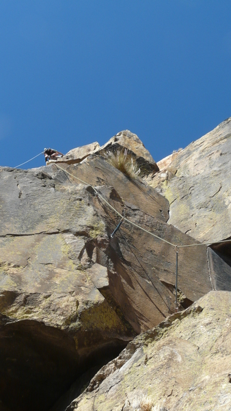Finishing Shadowline on the Center Block arete pitch of The Diamond of San Diego
