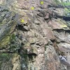 Easy climbing up to the crux which is a delicate step right on a sloping foothold