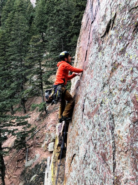 Just past the P1 crux on the Great Zot (taken from North Chimney).
