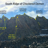 Overlay of routes on the tiny towers of the south ridge of Checkered Demon.