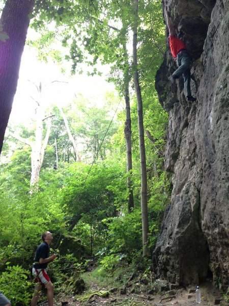 Climbing early in my climbing career at John Bryan State Park