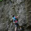 Meg climbing Green