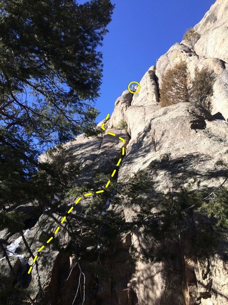 The yellow line is the first pitch of Wally World (the climber is off route).