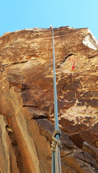 I'm rappelling the route, but when leading you should go up the right arete (not straight up the face or traversing off to the left).