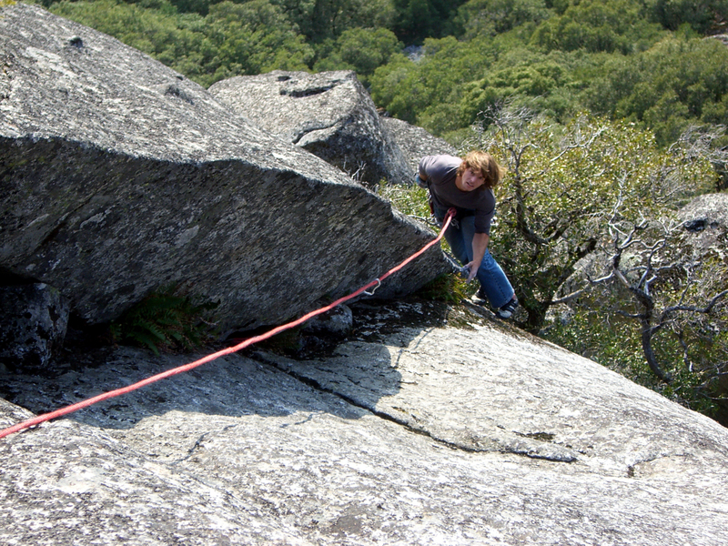 Mike entering the steep crux corner on Sharp Shooter (Pitch 4)
