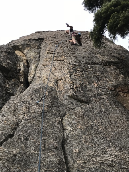 Mike A having fun climbing at Upper Willow Creek Area.
