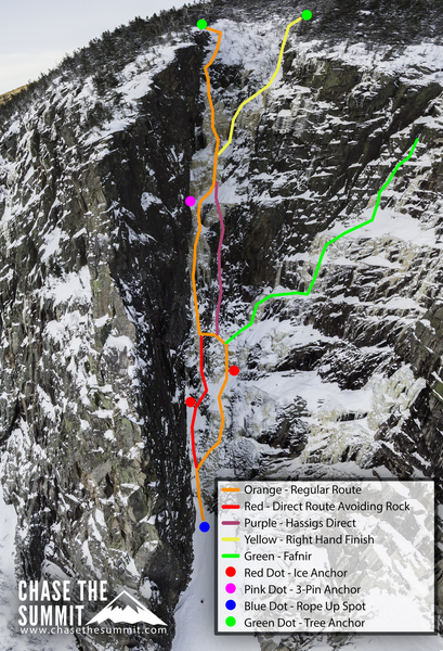 This photo topo was a joint effort between Dave Dillon of Chase the Summit and myself. A detailed route guide is here: https://northeastalpinestart.com/2019/01/10/route-guide-climbing-the-black-dike/