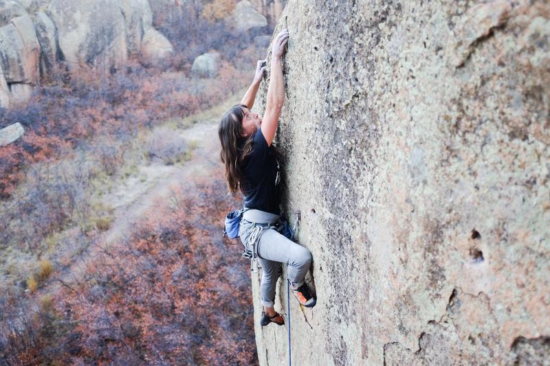 Local climber Laura Burkhardt on a beautiful autumn day.