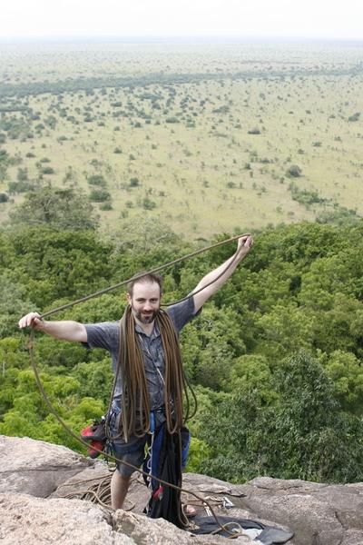 Merrick flakes the rope on top of Hioweyo (Talking Drum) overlooking the African plains.