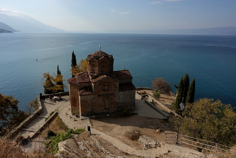 Just above the crag and Church of St. John at Kaneo overlooking lake Ohrid