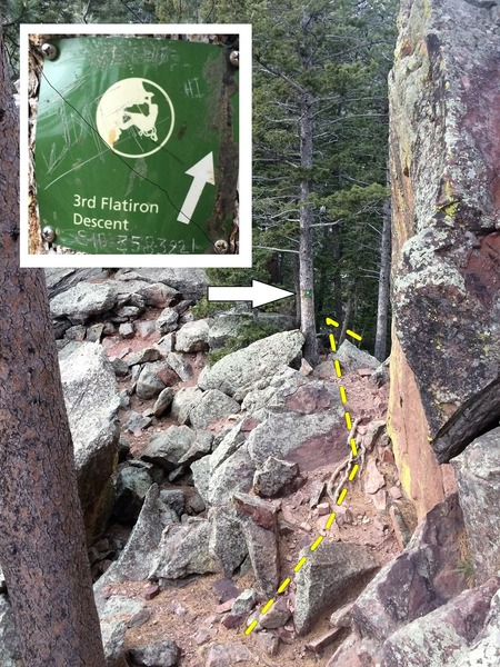 The start of the descent trail from the third (72') rappel landing zone.