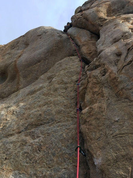 Michael Briseno above the crux.