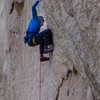 "Ian  Caldwell in the shoulder-demanding  'pre-crux-crux"" on Starvation Fruit"