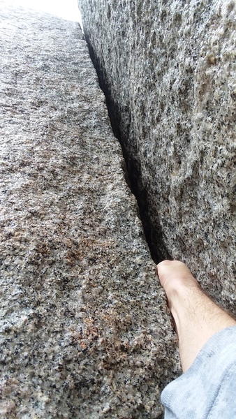 Looking up the short climb. Thin hand jam for scale.