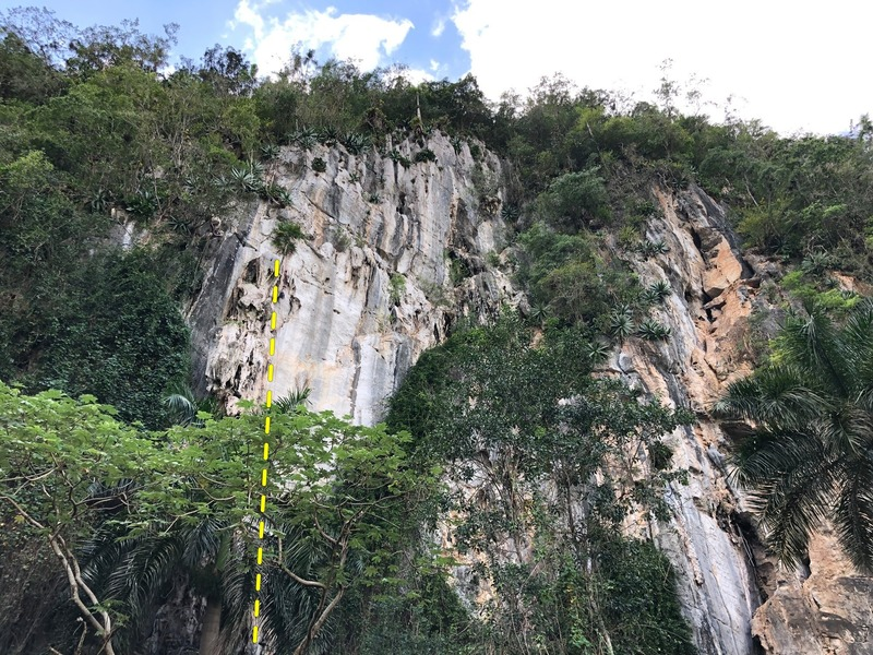 Second pitch of the route (first is behing trees)