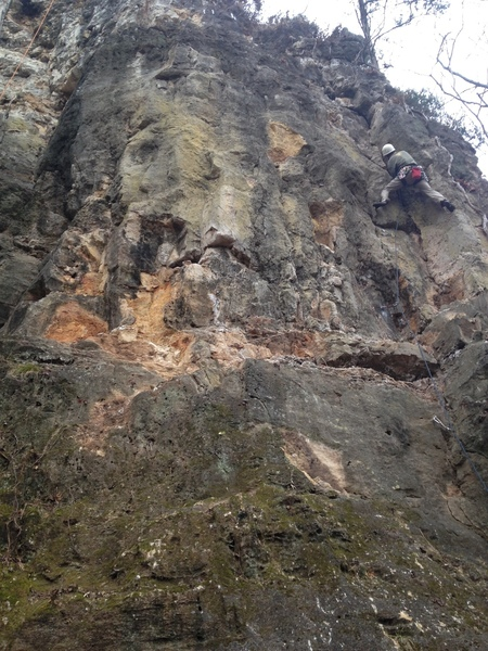 At the Party Boat dihedral crux, on the first pitch of Three Hour Tour