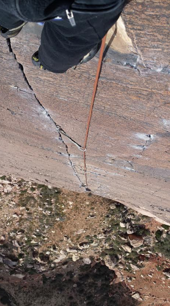 Looking down from the anchors of pitch five of Birdland. Pine Creek