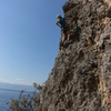 Nearing the top break in the route...great views of Lake Ohrid in the background...on Papucha