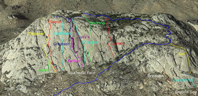 Approximate locations of some climbing routes on Greyrock Mountain. Image from Google Earth (www.google.com/help/terms_maps/).