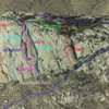 Approximate locations of some climbing routes on Greyrock Mountain.