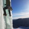 Ryan heading up the steep pillar