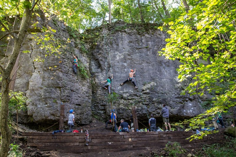 Climbers checking out Dad's Wall and Clear Creek at Mad River Gorge