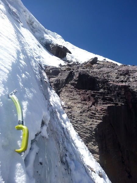 Just past the crux (AI3 in summer 2016). From here I started cutting right toward the break in the ridge.