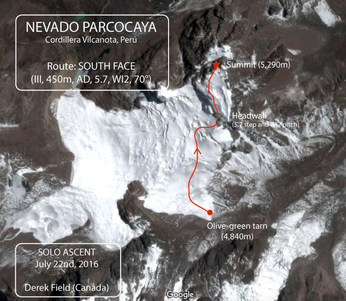 """Satellite map view showing the south face route on Parcocaya, starting at Laguna Parcocaya (""""olive-green tarn"""")"""