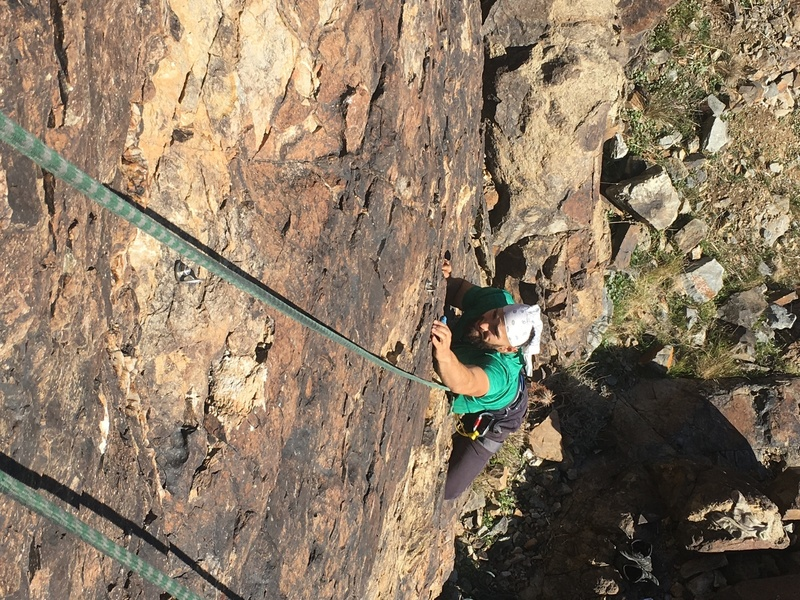 "Entering the 5.5 crux on ""Cloned""!"
