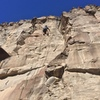 Unknown climber getting some solo work in.<br> View of climb from bottom (Easter Rising on Right).
