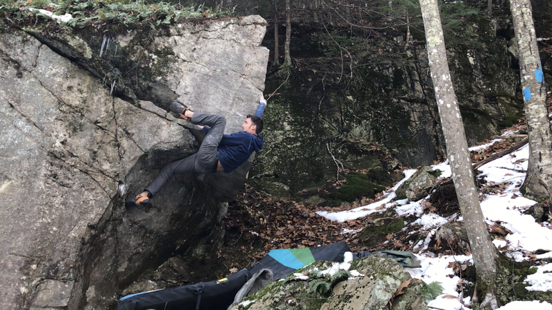 Gavin snagging the first ascent