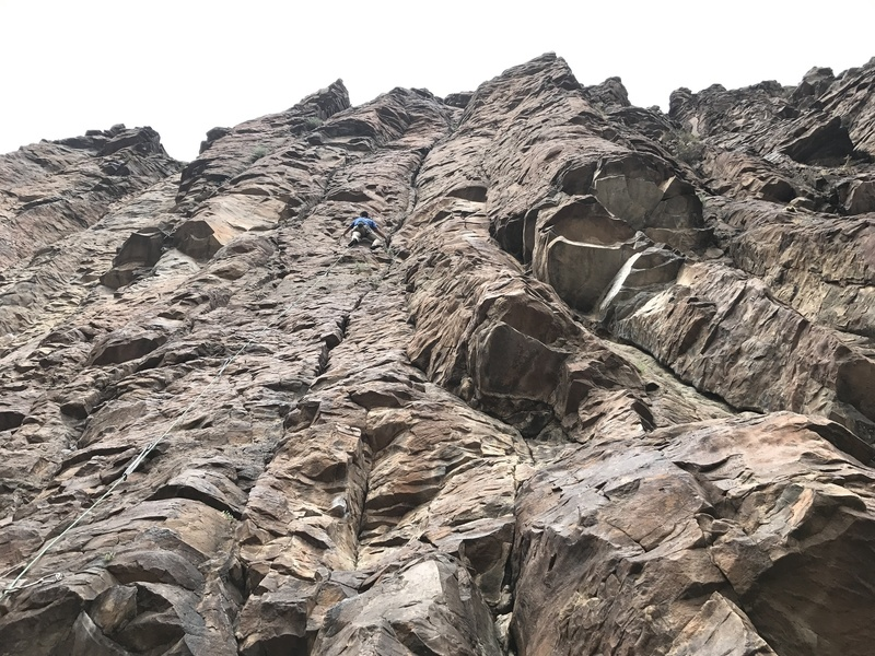 """A bit of an overview shot of """"Hell Boy.""""  The route sits right in the middle of the two distinct roof sections."""