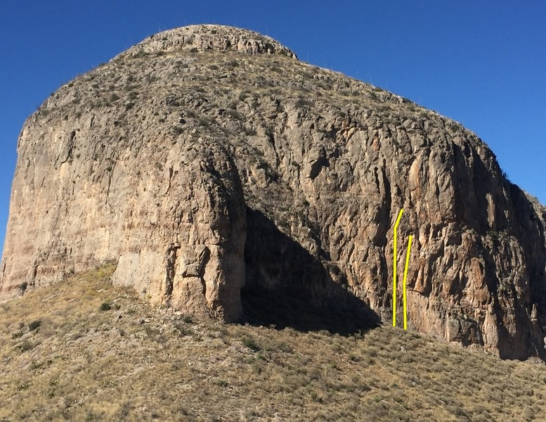 Wall of Northern Arizona on left, Galleta (buttress) in the middle, and Peanut Butter Cabal Wall on right with routes.
