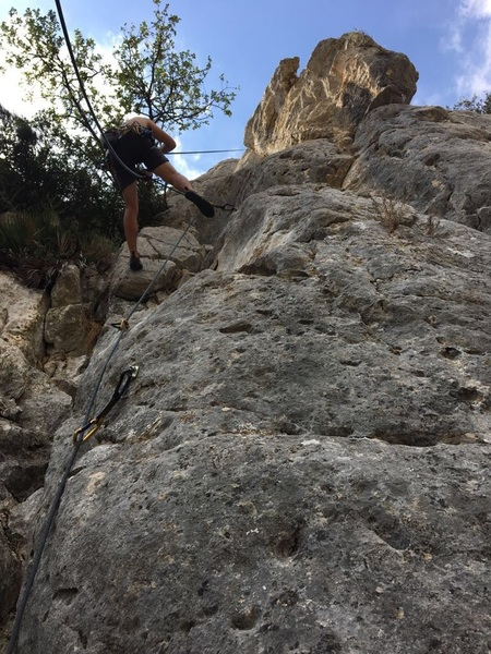 Rapping the route to clean it in the October heat