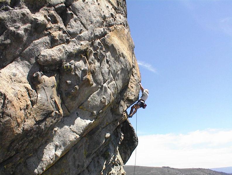 Kent Schmitz having fun at baboon Crag.