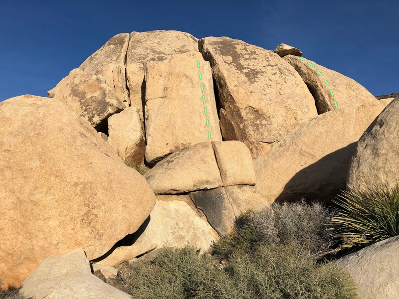 The west side of Conrad rock, Medicinal Marijuana on the left and Paco on the right.