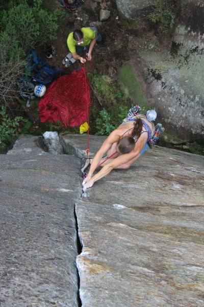 Allison Rooney with sequencey Beta through the crux; Photo by Nicholas Orton