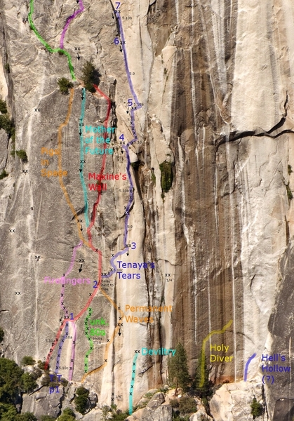 Overlay of Tenaya's Tears and neighboring routes. Courtesy of Clint (the Legend) Cummins. :)