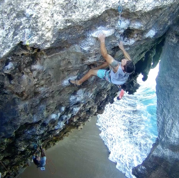 Starting the 3rd crux on Leave It To Biner