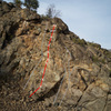 Topo of Beyond the Siskiyou Sky in relation to other climbs on the Aqua Wall