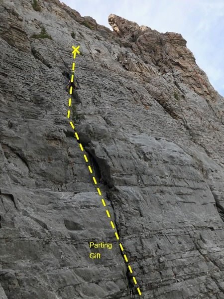 Skyler Palmer doing first ascent lead.