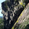 Approach pitch to Lord of Creation (AKA 'Cirque de Slabay' 5.7), a slightly grubby slab with a fun juggy move to the belay spot